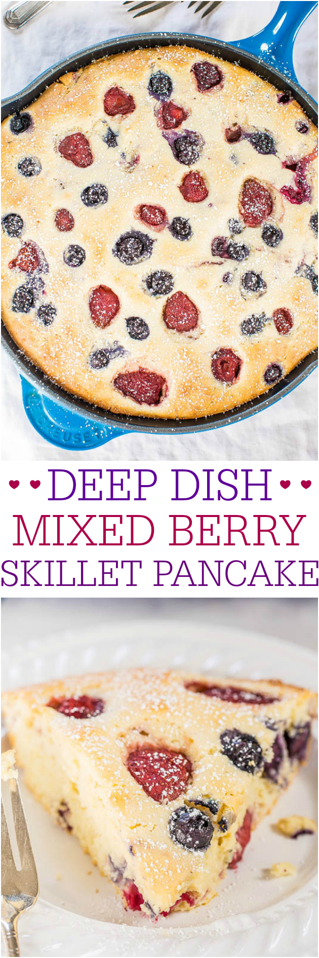 Deep Dish Mixed Berry Skillet Pancake - The easiest and thickest pancake ever! No flipping or standing at the stove so you can go relax!! Perfect easy brunch recipe!