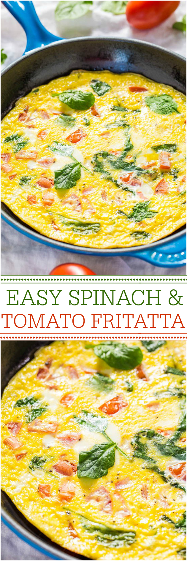 Easy Spinach and Tomato Frittata - Ready in 10 minutes and healthy! Perfect for any meal!! Great for using up odds-and-ends veggies, too!!