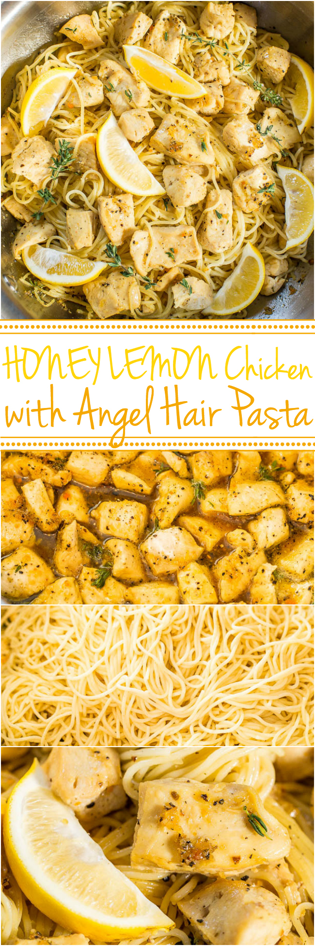 Honey Lemon Chicken with Angel Hair Pasta - Easy, ready in 20 minutes, and you'll love the tangy-sweet flavor!! A healthy weeknight dinner for those busy nights!!