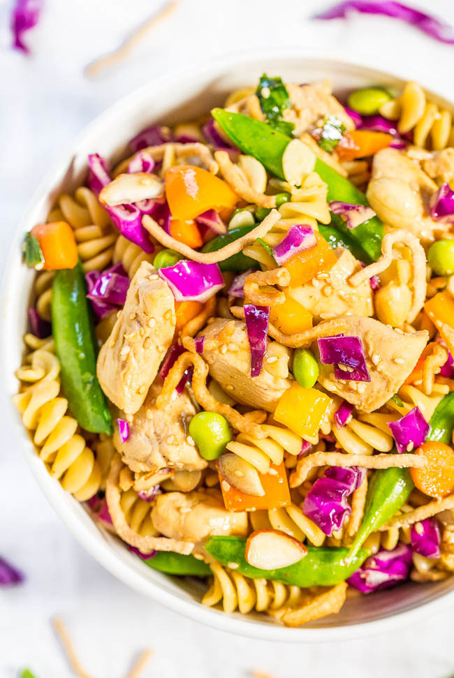 Chinese Chicken Pasta Salad - Big juicy chicken chunks and texture galore from the rainbow of crispy veggies! Fast, easy, fresh and healthy!! Great for picnics, potlucks, and easy dinners!!
